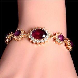 """18k Y/Gold Plated Austrian Crystal 8"""" Bracelet"""